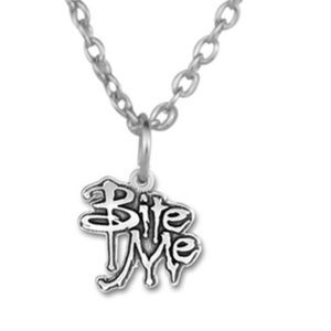 Jewelry - Halloween Bite Me Silver Tone Necklace